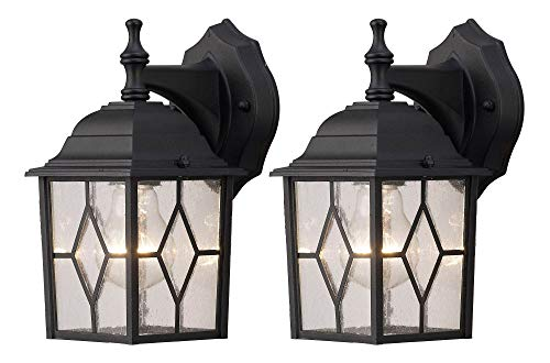 NOMA 2-Pack Outdoor Wall Lantern | Waterproof Outdoor Down-Facing Exterior Lights for Front Door, Backyard, Garage, Patio or Décor | Black Finish with Diamond Seeded Glass Panels, 2-Pack