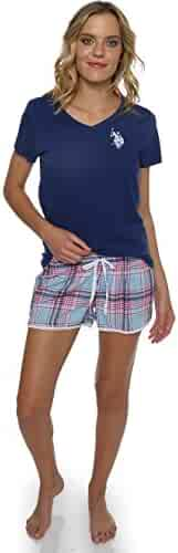 U.S. Polo Assn. Womens Short Sleeve Shirt and Pajama Shorts Lounge Sleep Set ed30a3a70