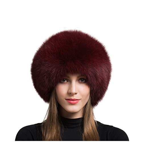 (Women's Real Fox Fur hat Winter Thick Fur hat Natural Fur and Sheepskin Warm hat (55-60cm, Red Wine))