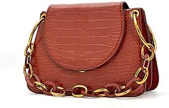 Bag For Women,Brown & Gold - Shoulder Bags