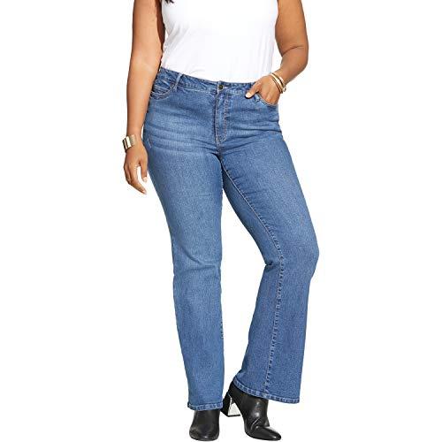 Roamans Women's Plus Size Flared Jean - Medium Wash, 24 W