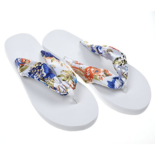 Women's Bohemian Floral Beach Slippers Platform Wedge Flip Flops Thick Sole Casual Slippers (Floral Flip Flop)