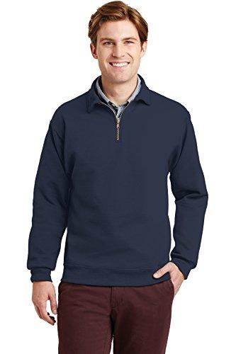 Jerzees Mens Super Sweats 1/4-Zip Sweatshirt with Cadet Collar, XL, Navy
