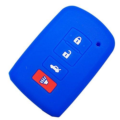 (Coolbestda Rubber 4 Buttons Smart Key Fob Remote Cover Case Keyless Holder for 2016 2015 2014 Toyota Avalon Camry Corolla RAV4 Highlander Blue)