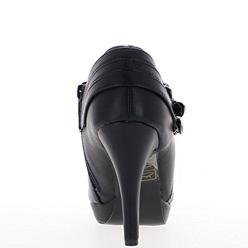 Stivali donna nera con piattaforma di tacco e mini 10cm
