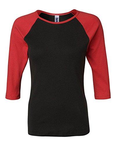 Bella Ladies' Cotton 3/4 Contrast Raglan Sleeve Rib Tee in Black/Red - X-Large