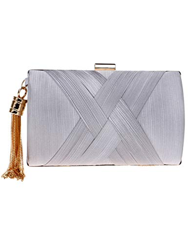 Bag Elegant Women's Clutch Satin Handbags Long for Gold Wedding Strap Bag Evening with Party Silver Crossbody Metal Bag xq4SqHn