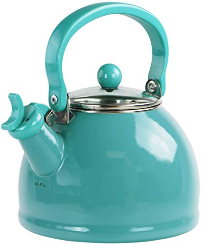Calypso Basics by Reston Lloyd Harmonic Hum Whistling Teakettle with Glass Lid, 2.2-Quart, Turquoise