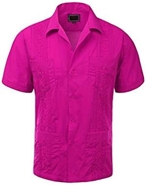 MAXIMOS MEN'S SHORT SLEEVE BUTTON-UP CUBAN GUAYABERA DRESS SHIRT BEACH WEDDING BARTENDER