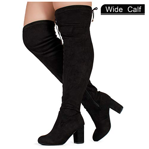 Wide Calf Boot Extra (RF ROOM OF FASHION Women's Wide Calf Over The Knee Chunky Heel Stretch Boots Black SU (9))