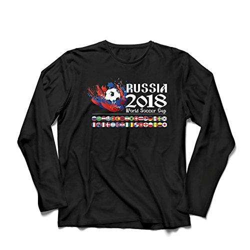lepni.me Men's T-Shirt Russia 2018 World Soccer Cup, All 32 National Football Team (Medium Black Multi Color)