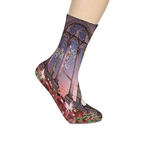 TecBillion Gothic Soft Mid Calf Length Socks,Ancient Colonnade in Secret Garden with Flowers at Sunset Enchanted Forest Socks for Men Women