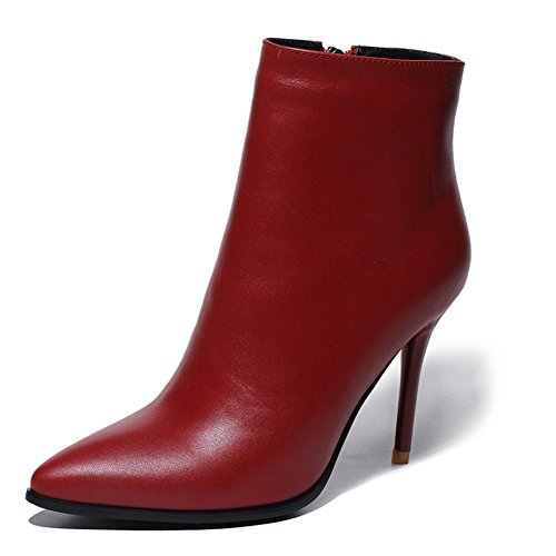 Product image of VOCOSI Women's Leather Ankle Boots Thin Heels Pointy Toe Zipper Daily Wear Booties
