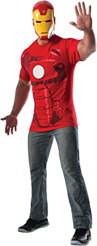 Rubie's Costume Men's Marvel Universe Iron Man Costume T-Shirt and Eye Mask, Multi, Large (Tony Stark Halloween Costume)
