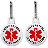 I HAVE ASTHMA INHALER INSIDE White Medical Alert 2-Pack 1 Zipper Pull Charms