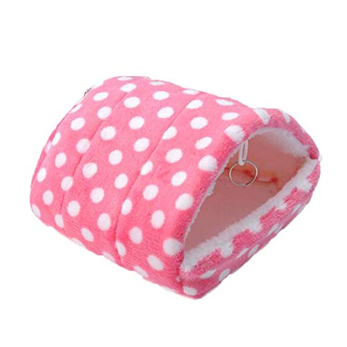 WORDERFUL Warm Hamster Cotton Nest Dutch Guinea Pig Pig Chinchillas Winter Hanging House Bed Mice Snake Squirrel Small Animal Pet Toy House (Free Size, Pink)