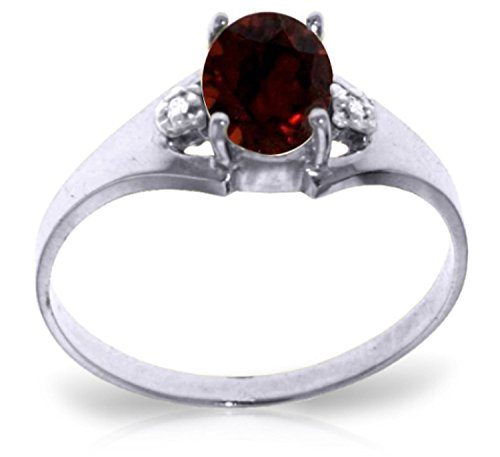 Galaxy Gold 0.76 Carat 14k Solid White Gold Ring with Genuine Diamonds and Natural Oval-shaped Garnet - Size 5.5