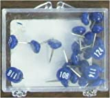 Numbered Map Tacks - Dark Blue Pins with White Numbers (20 Boxes of 25: Numbers 1-500)