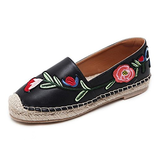 Women's Round Toe Flat Loafers London Casual Shoes Black - 1
