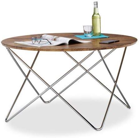 Métal d/'Appoint Avec Bois Plateau de table déco table Table basse sofatisch