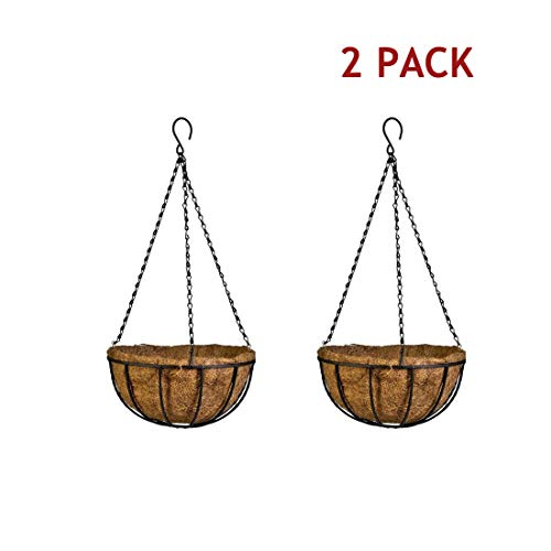 - Metal Wall Planter Hanging Basket with Coco Coir Liner Half Round Plant Holder Flower Pot Hanger Decoration for Garden Porch Balcony Indoor Outdoor Black (2Packs)