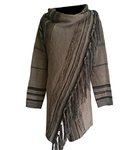 Howme-Women Skinny Open-Front Tassels Poncho Autumn Knitted Top Coat Grey