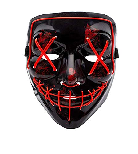 Himine Halloween Mask Cosplay LED Light up Purge