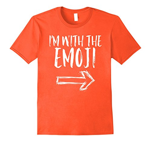 Quick Cute Last Minute Halloween Costumes (Mens I'm With The Emoji Funny Quick Cute Halloween Costume Shirt 3XL Orange)