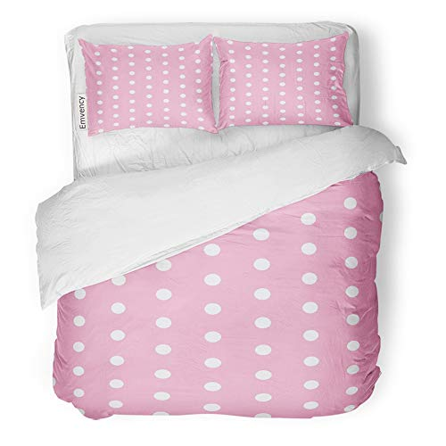 Bedding Set Retro Circles - Emvency 3 Piece Duvet Cover Set Brushed Microfiber Fabric Breathable Circle Polka Dot Design White and Pink Contemporary Cute Modern Patterned Retro Bedding Set with 2 Pillow Covers Full/Queen Size