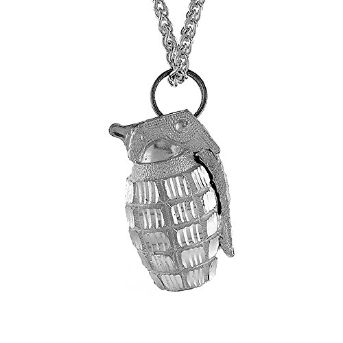 Sterling Silver Hand Grenade Pendant, 1 1/2 inch (Gangster Necklaces)