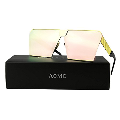 AOME Oversized Flat Top Sunglasses Square Metal Frame Mirrored Sunglasses (Gold&Barbie powder, 2.0)