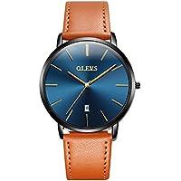 OLEVS Men's Quartz Watch,Business Casual Fashion Analog Wrist Watch Classic Calendar Date Window, Waterproof 30M Water Resistant Comfortable Leather Watches
