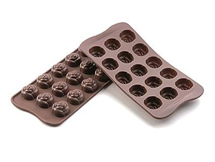 SCG13 Molde de silicona para el chocolate con 15 cavidades con forma de rosas, color