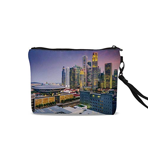 Urban Cosmetic Bag Storage Bag,Skyline of Singapore at Evening Skyscrapers Stadium Active City Life Southeast Asia Decorative For Women Girl,9