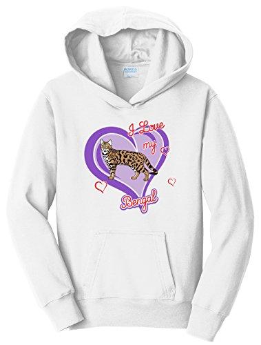 Tenacitee Girl's Youth Bengal Cat Hooded Sweatshirt, Large, White