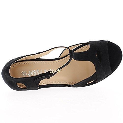 Wedge Sandals beige aspect woman suede heel 10cm with 3cm aspect burlap platform 74JALms4