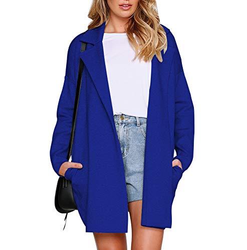 Lana Autunno Tops Casual Tinta Moda Giacca Coat Parka Lunga E Jacket  Inverno Cappotto Giacche Di Manica Outerwear Unita Blu ... 05bca9982d7