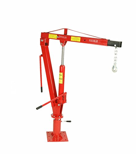 Dragway Tools 2000 LBS Swivel Base Hydraulic Engine Hoist Foldable Davit Crane fits Pickup Truck with Removable Base (Pickup Crane)