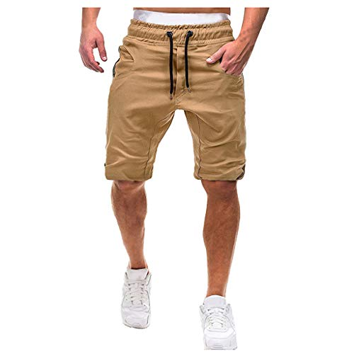 (Houshelp Men's Running Workout Shorts Quick Dry Lightweight Athletic Pockets Loose Fit Cotton Outdoor Stretch Waist T Khaki)