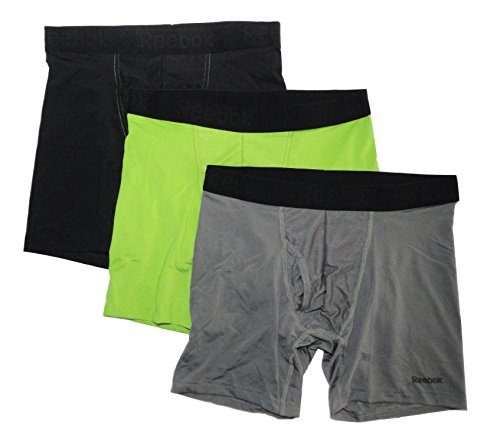 Reebok Men's Performance Boxer Briefs - 3 pack, Black/Ultra Lime/Graphite, Small