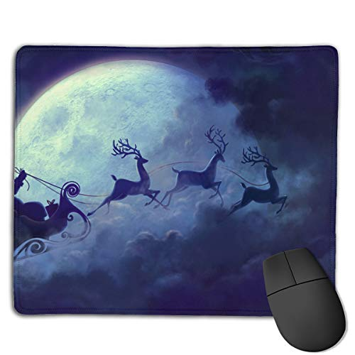 Teesofun Unique Mouse Pad Santa in His Sleigh Rectangle Rubber Mousepad 8.66 X 7.09 Inch Non-Slip Gaming Mouse ()