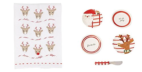 Mud Pie Christmas Accent Plate and Towel 2 Pc. Set