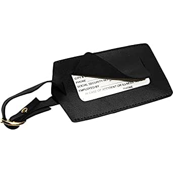 Royce Leather Popular Leather Luggage Tag (Black)