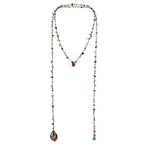 AeraVida Long Lariat Wrap Multi-Wear Simulated Turquoise & Brown Mix Stones Beaded Necklace