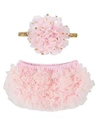 OoSweetCharlotteoO 2pcs Baby Girl Chiffon Bloomer & Headband Set Newborn Photo Prop Baby Girl Cake Smash Outfit