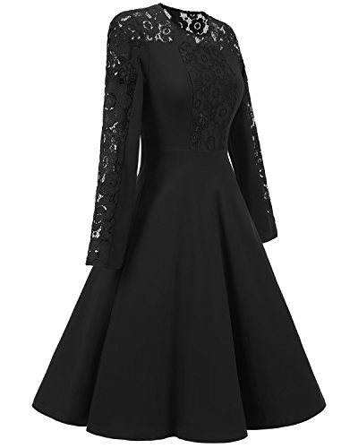 Floral Vintage Aecibzo Dress Black Long Lace Party Cocktail Contrast Women's Sleeve q4xHwfpn