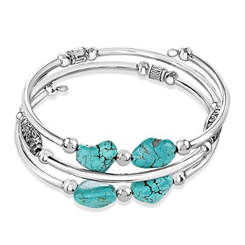 Sofia Luxe Handmade Stainless Steel Stabilized Turquoise Wrap Memory Wire Bracelet for Women. Beautiful Cuff Bangle Bracelet.