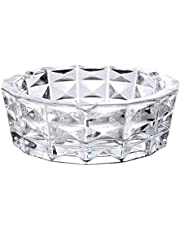 Saim Glass Ashtray Round Crystal Outdoor Indoor Cigarettes Cigar Ash Tray Rectangular Grid Decorative Large for Home Patio Office Tabletop