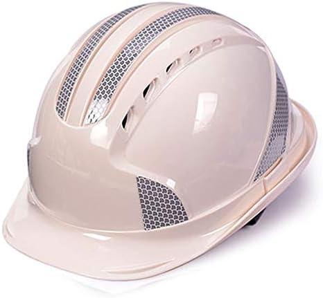 Yan Xiao Yu 安全ヘルメット工事現場反射ストリップリーダーシップ電力建設工学ヘルメット通気性労働保険ユニセックス (Color : White, Size : One size)