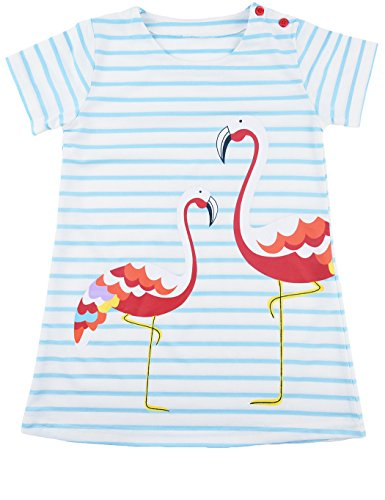 Dhasiue Girl Printed Flamingo Casual Toddler Cotton Short Sleeve Girl Dress Crew-Neck (Stripes Sorrel)